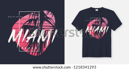 Colors of Miami beach graphic tee vector design with palm tree silhouette. Global swatches.