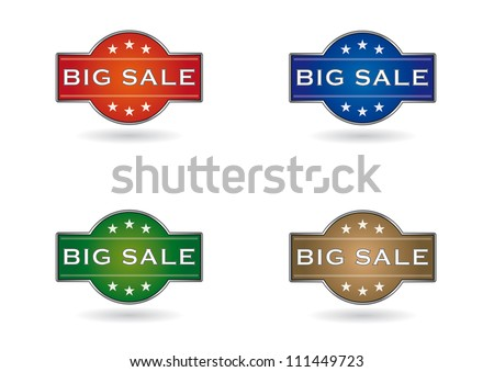colors set shield, big sale and stars