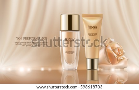 Colorstay make-up in elegant packaging on a background of drop of foundation