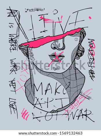 Colossal Head of a Youth sculpture. Crazy pink calligraphy Stock foto ©