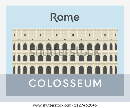 Colosseum flat style, Rome postcard vector illustration