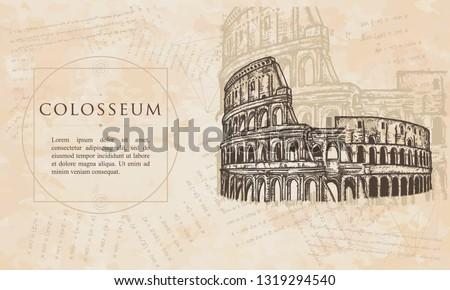 Colosseum.  Symbol of Ancient Rome, gladiator fights. Renaissance background. Medieval manuscript, engraving art