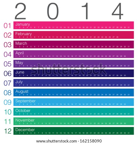 colouful calendar 2014 minimal design