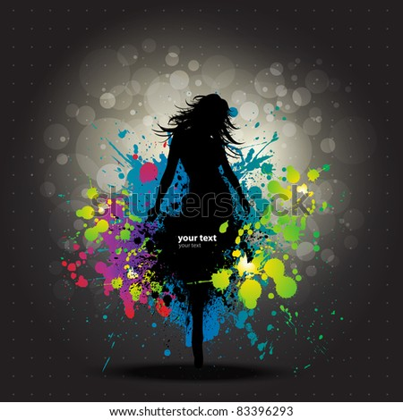 colour grunge poster with girl