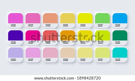 Colour Guide Palette Catalog Samples Pastel and Neon in RGB HEX. Neomorphism Vector