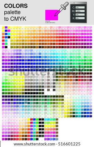 Colour palette to CMYK. Process color. Color palette color composition conform to the CMYK description.