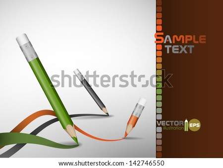 Colour pencils drawing lines Vector illustration Eps 10