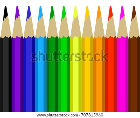 Colour pencils rainbow style,scale colour of colour pencils,colour pencils vector,illustration colour pencils,colour pencils on white background,colour pencils were sharped available