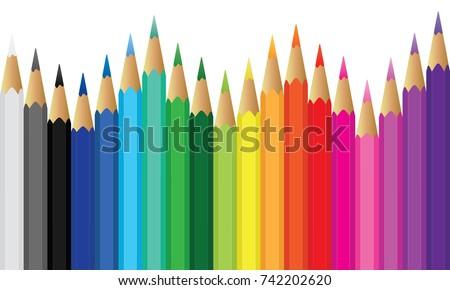Colour pencils rainbow style,scale colour of colour pencils,colour pencils vector,illustration colour pencils,colour pencils on white background,multicoloured pencils