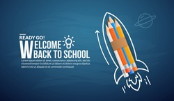 Colour pencils rocket launching to space on blue background, welcome back to school concept