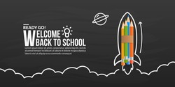 Colour pencils rocket launching with doodles on blackboard, welcome back to school background