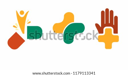 Coloured logos for pharmacology and medicine. Vector icons