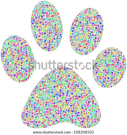 Coloured Pet footprint. A number of 5685 squares are inserted into the mosaic