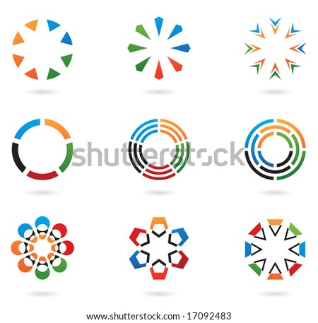 colourful abstract icons and