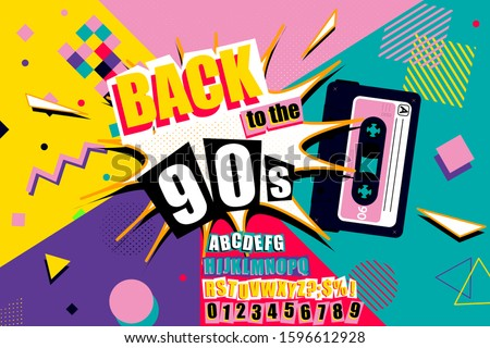 Colourful back to the 90s poster design with burst effect, old audio cassette tape, alphabet and numbers on a vivid geometric background, vector illustration