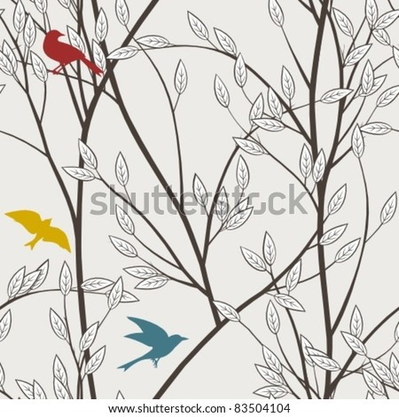 colourful birds and branches