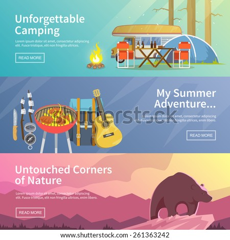 colourful camping vector flat