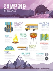 Colourful camping vector infographic. The concept of infographic for your business, web sites, presentations, advertising etc. Quality design illustrations, elements and concept. Flat style.