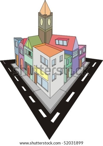 Colourful city vector illustration