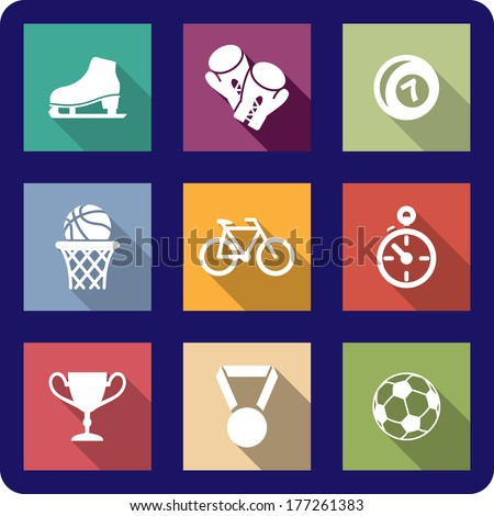 Colourful collection of flat sporting icons logo on different coloured backgrounds representing ice skates,boxing, bowls, basketball, cycling, racing, soccer, trophy and medal