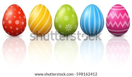 colourful easter eggs on white