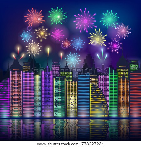 colourful fireworks over a city