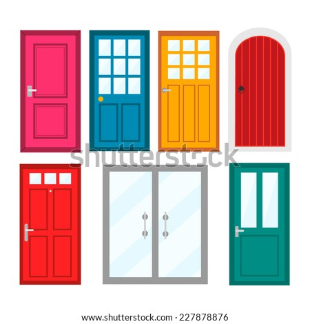 Colourful front doors to houses and buildings set in flat design style, vector illustration