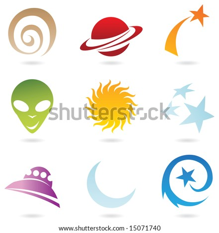 colourful fun space icons