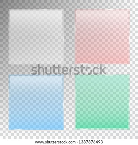 Colourful glass banner with transparency set isolated on transparent background. Realistic 3D design elements. Vector illustration.