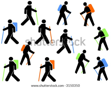 colourful hikers with walking poles and backpacks
