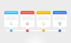 Colourful infographic steps with text boxes.