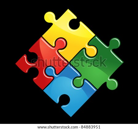 Colourful interlocked puzzle pieces in red, yellow, blue and green on a black background, vector illustration. Rasterized version also available in gallery