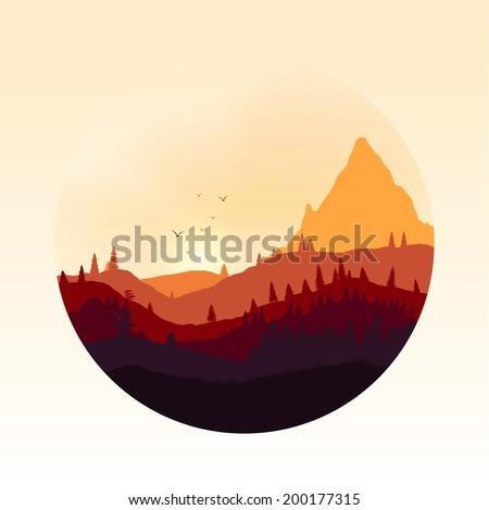Colourful Mountain Landscape Applique - Vector Illustration