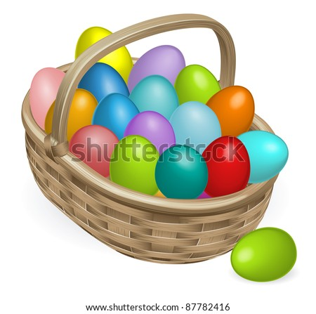 Colourful painted Easter eggs in a wooden basket