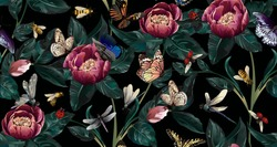 Colourful Pattern with big flowers-peony with branch and big leaves and insects-buterfly, dragonfly, ladybug, bee on black background