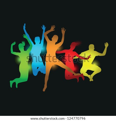 colourful people jumping - stock vector