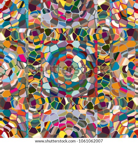Colourful seamless ornamental rose background made of mosaic. New texture for design work