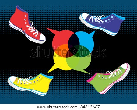 Colourful sneakers with dialogue balloon on black background. Vector available