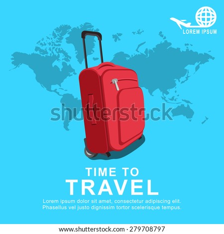 Colourful travel and trip concept vector flat banner vith travel bag and world map.