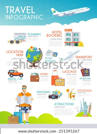 Colourful travel vector infographic. The concept of infographics for your business, web sites, presentations, advertising etc. Quality design illustrations, elements and concept. Flat style.