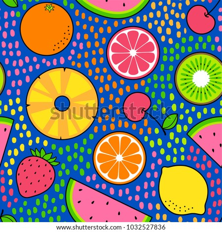 Colourful tropical fruits seamless pattern with dot background