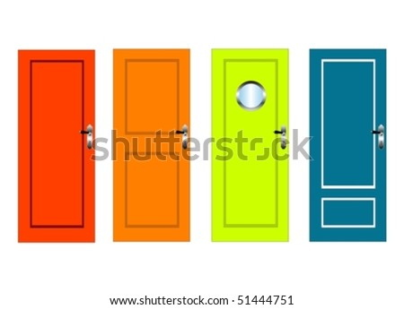 Colourful vector doors with panels