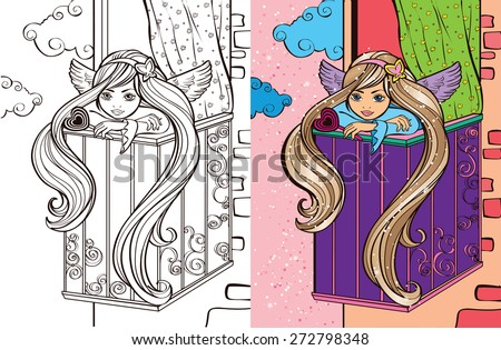 colouring bookbeautiful angel