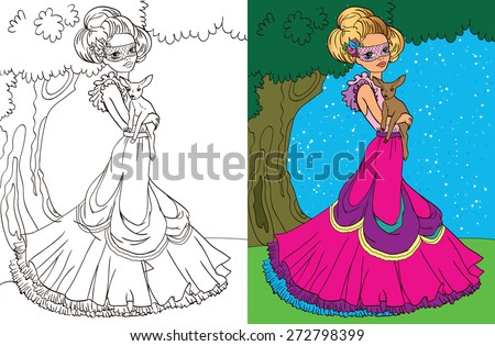 Stock Photo Colouring book.Beautiful princess with a deer in the forest