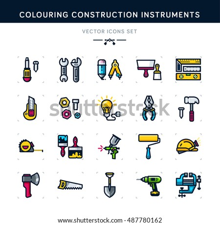Colouring construction instruments vector set icons