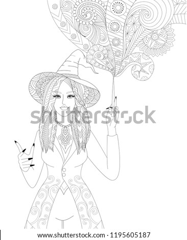 Stock Photo Colouring Pages. Coloring Book for adults. Halloween girl or witch spelling magic. Antistress freehand sketch drawing with doodle and zentangle elements.