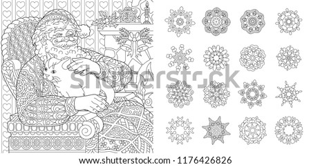 colouring pages coloring book for adults santa claus with a cat new year