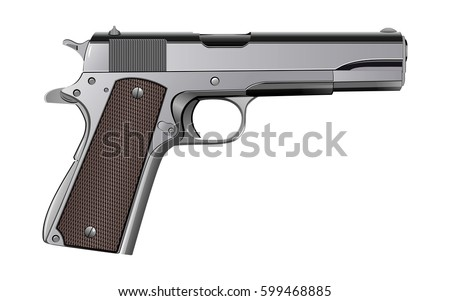 colt m1911 pistol isolated on