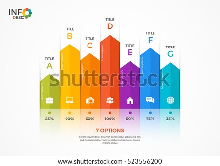 Column chart infographic template with 7 options.