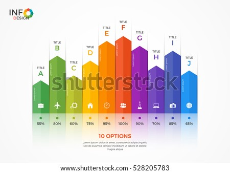 Column chart infographic template with 10 options.